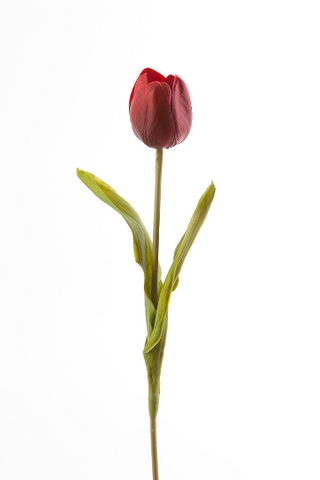 Real Touch Tulip Bud Medium Wedding Decor (Dark Red)-REA1 Active