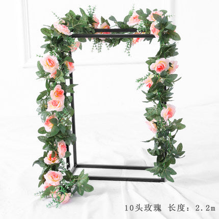 Green Artificial Flower Ivy leaf Garland with champagne flower wedding greenery 2.2m