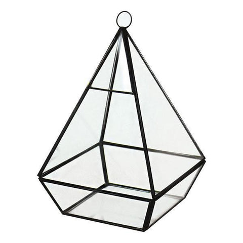 "GEOMETRIC 8"" PLANTER GLASS PYRAMID TERRARIUM VASE (Black) -GEO1-3 - Richview Glass Wedding Supplies"