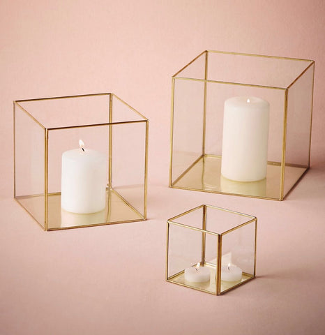 "Geometric 3"" Cube Glass candleholder Lantern Terrarium Vase (Gold) - Richview Glass Wedding Supplies"