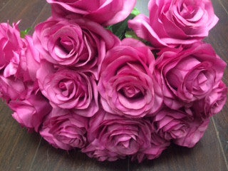 Artificial Flower Rose Bunch with leaf 18 head (Hot Pink) -FLO1-8 - Richview Glass Wedding Supplies