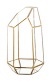 "GEOMETRIC 9.5""x5"" PLANTER GLASS TERRARIUM VASE (Gold)- GEO1"