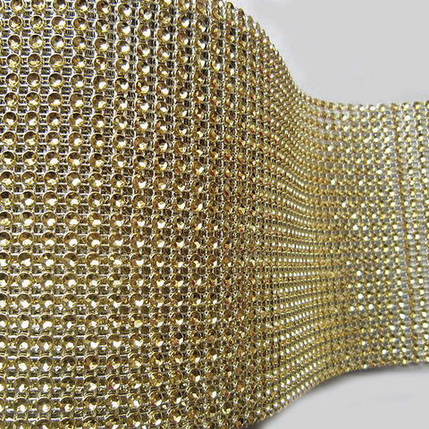 VASE WEDDING DECORATION TRIMMING MESH 10 YARD (gold)-VAS2