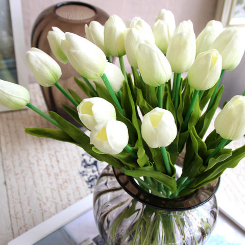 12xReal Touch PU flower Tulip artificial wedding decor Floramatique (White) - Richview Glass Wedding Supplies