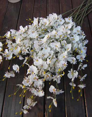 Artificial Flower white Oncidium Dancing Lady orchid silk flower (ONC1) - Richview Glass Wedding Supplies