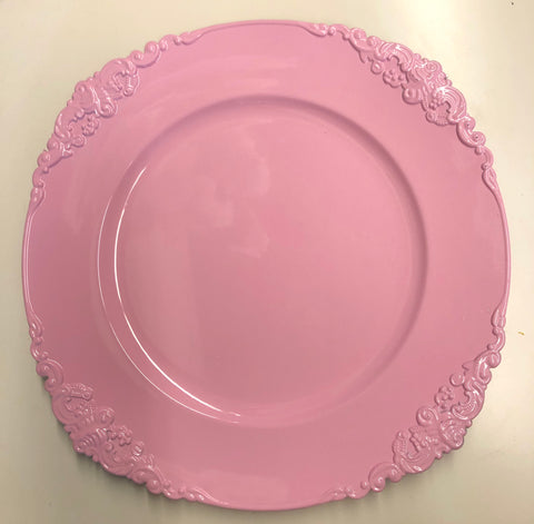 Pink Charger Plate Acrylic Classic Flower pattern