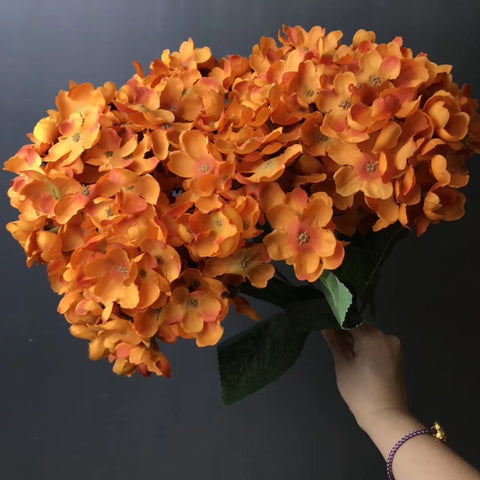 Orange new Hydrangea Bunch 6 head silk fall Color