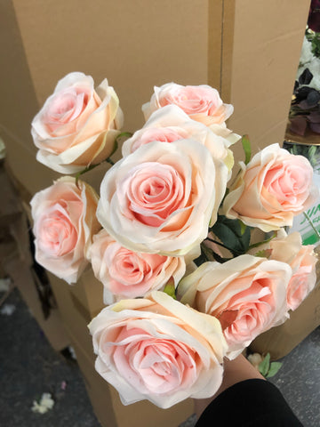 Two tone pink centre Artificial Diamond Rose Bunch 10 head