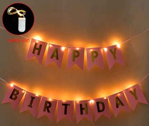 Led light happy birthday garland