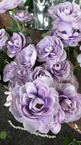3 head lilac Single stem Ranunculus artificial flower - Richview Glass Wedding Supplies