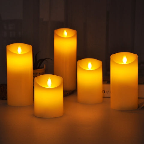 Set of 5 LED Electric Flameless Candles battery operated