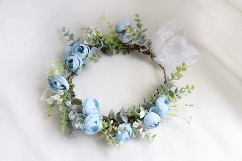 Blue Head piece for bride ranunculus head band
