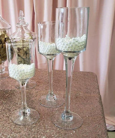 Monet Candleholder set of 3 glass vase wedding centerpiece
