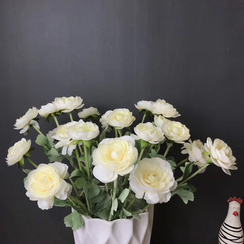 3 head cream Single stem Ranunculus artificial flower