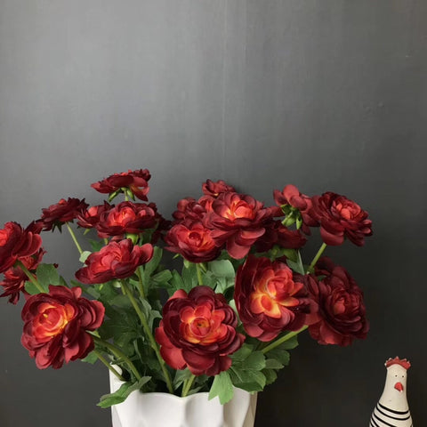 Burgundy Single stem Ranunculus artificial flower filler flower