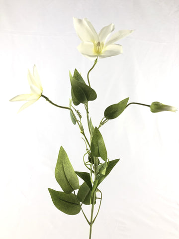 Artificial Flower Single Stem white Clematis - Viva La Rosa