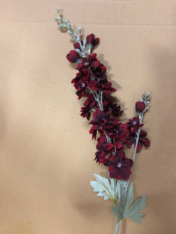 Burgundy Artificial Silk flower Delphinium - Richview Glass Wedding Supplies