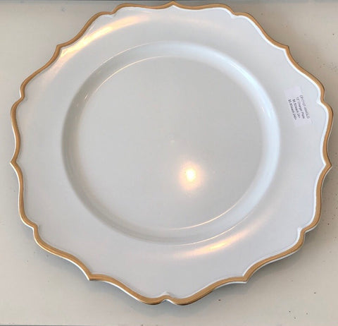 "13"" Acrylic flower Charger Plate CP17107-wh/gld"