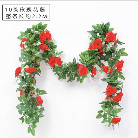 Green Garland with red flower wedding greenery 2.2m
