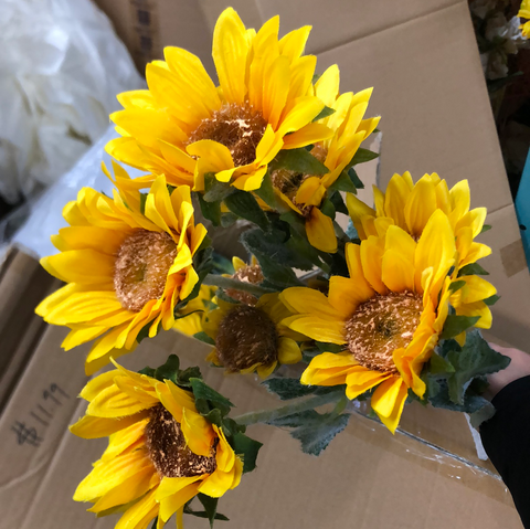 New Sunflower ARTIFICIAL FLOWER bright Yellow WEDDING DECOR SUN FLOWER