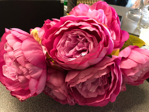 9 HEAD Hot Pink FABRIC ARTIFICIAL PEONIES PEONY BUNCH - Richview Glass Wedding Supplies