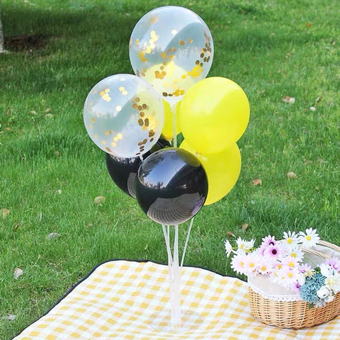 Standing Birthday balloon set Yellow and Black