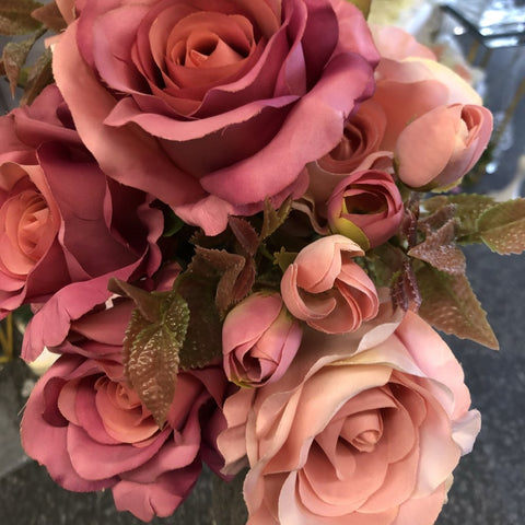 New fall color mixed hot pink Roses Artificial Flower R147
