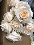 Blush champagne Artificial Diamond Rose Bunch 10 head