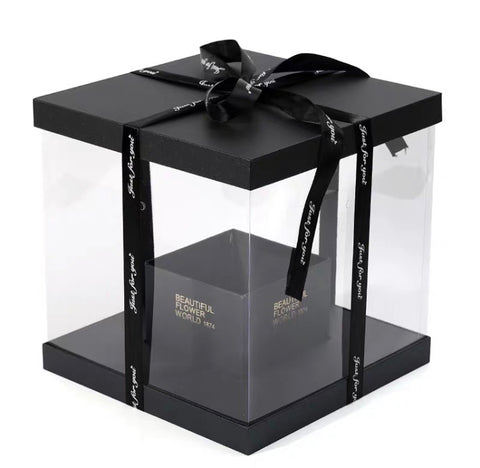 Black cardboard box For fresh or preserved Flowers and cake