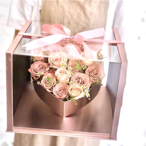 Medium acrylic cardboard box Pink With elevated heart