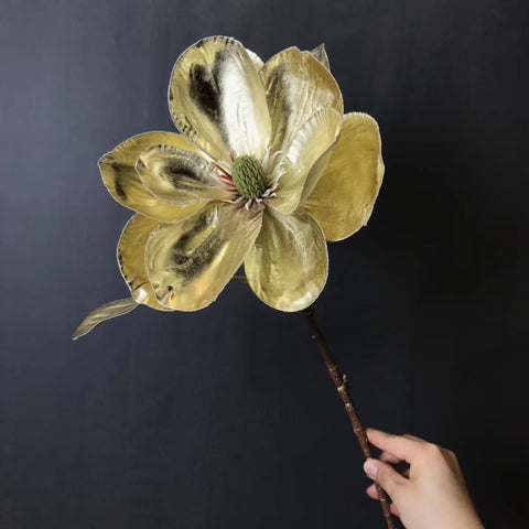 Gold Artificial Flower Magnolia Large