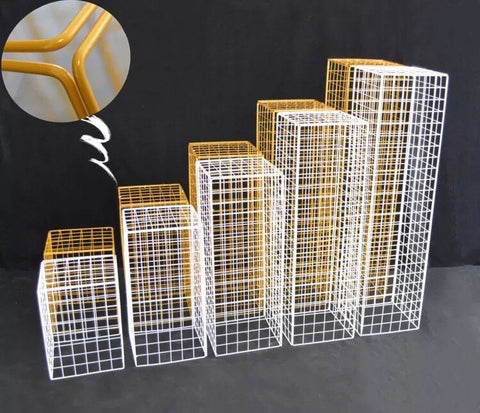Gold Mesh Modern Rectangular Stand Metal 40''H