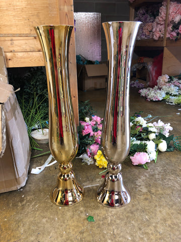 "Gold 30"" Reversible Tall Vase MV493 Slim Yellow Gold"
