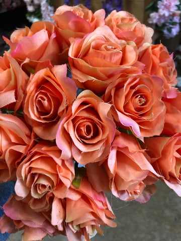 18 Head Orange Rose BUNCH WITHOUT LEAVES IN - Richview Glass Wedding Supplies