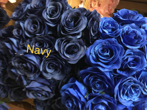 Navy blue Artificial Flower Rose Bunch with leaf 18 head (Navy Blue)