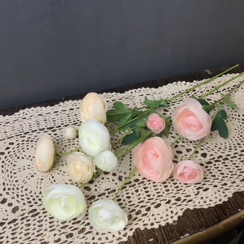 4 head (2 buds 2 flowers) pink Single stem Ranunculus artificial flower