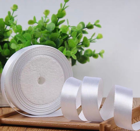 "Satin ribbon roll( 2cm/3/4""wide) (White)-22m/24 yard long"
