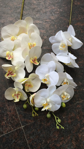 CREAM LARGE REAL TOUCH PHALAENOPSIS ORCHID ARTIFICIAL FLOWER WHITE WEDDING FLOWER (white) -REA1 - Richview Glass Wedding Supplies