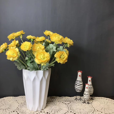 3 head yellow Single stem Ranunculus artificial flower