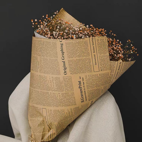 "27""x20"" Fresh Flower Wrapping Paper brown paper newspaper"