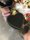 Black heart shape Cardboard box with gold edge For fresh or preserved Flowers