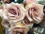 10 head Dusty Pink Rose Artificial flower rose - Richview Glass Wedding Supplies