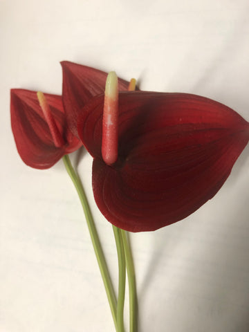 Red Anthurium Laceleaf Tropical Artificial Real Touch flower