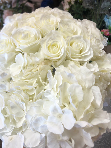 Jumbo Artificial Flower Ivory/Cream Hydrangea Bunch 6 head silk