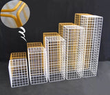 Gold Mesh Modern Rectangular Stand Metal 32''H