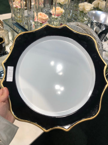 Acrylic flower Charger Plate CP17107-blk Black and Gold