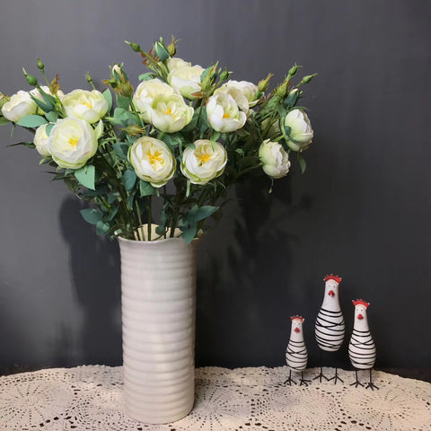 Cream Artificial Rose Spray 2 tone