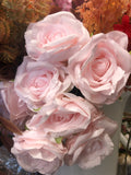 7 head Pink Marshmallow Sweet Rose artificial flower