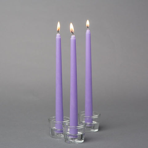 "Pack of 12 lavender light purple taper Candles wedding decor 10"" long"