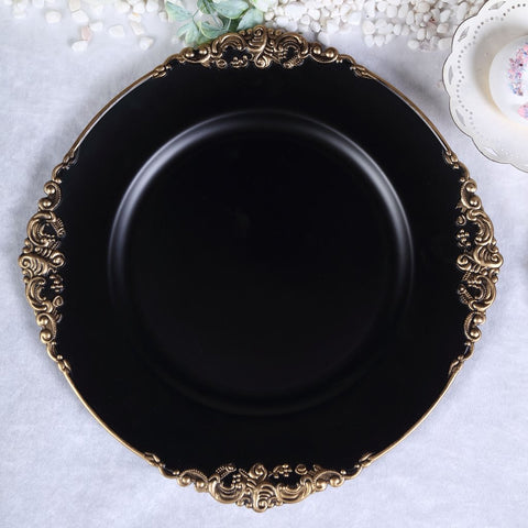 Black Charger Plate Acrylic Classic Flower pattern